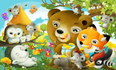 Obraz cartoon scene forest animals the forest eating honey - fototapety do salonu