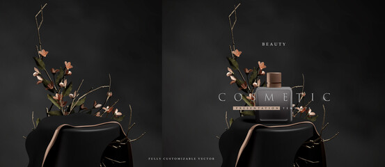 Fototapeta Dark elegant podium scene for product presentation with realistic decorative flowers and branches still life style. professional product display placement template obraz