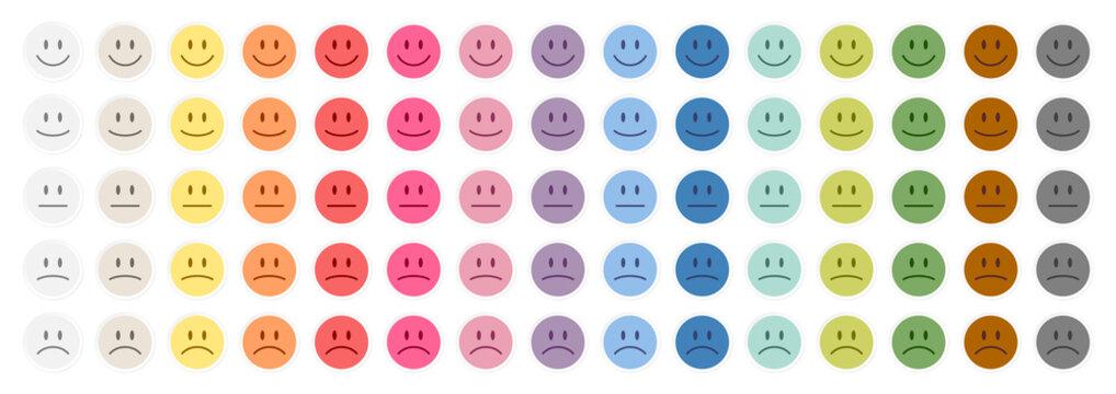 5 Gesichter Weißer Rand Positiv Bis Negativ 15 Farben