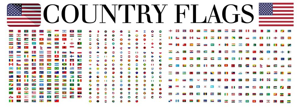 World Flags - Vector Icon Set , Official Country Flags