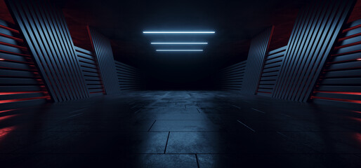 Fototapeta Realistic Alien Sci Fi Futuristic Concrete Asphalt Warehouse Spaceship Garage Hangar Parking Hallway Tunnel Corridor Blue Red Glowing Lights Background 3D Rendering obraz