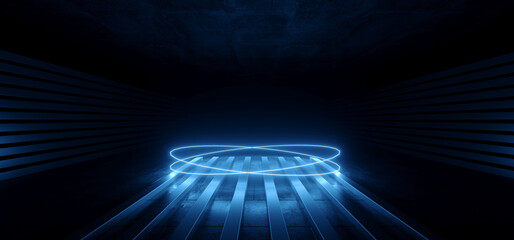 Modern Sci Fi Futuristic Blue Neon Glowing Laser Circle Lights Stage Showroom Underground Catwalk Hangar Technology Background Tunnel Corridor 3D Rendering