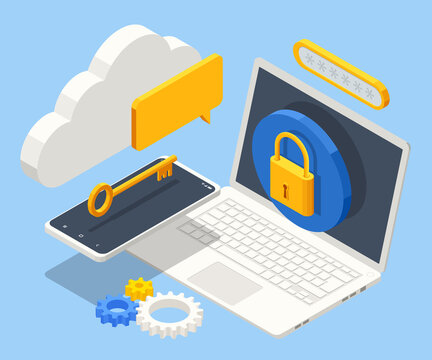 Isometric Data Security system. Cyber security and privacy. Traffic Encryption, VPN, Privacy Protection Antivirus. Protection software, finance security