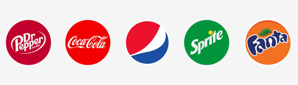 Dr pepper, Coca Cola, Fanta, Sprite and Pepsi icons. Editorial vector set. Popular drink brands. Round Cola and Dr Pepper logotype. Pepsi, Sprite and Fanta vector. Rivne, Ukraine - May 27, 2021