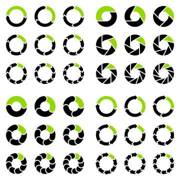 Quadrat Set Tortendiagramme Pfeile Schwarz Und Grün