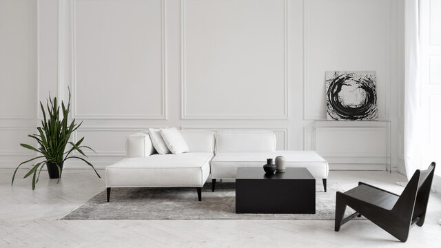 Sofa in room with abstract picture on wall