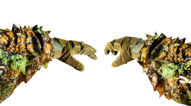 Isolated first person view photo of soldier or hunter arms in gloves and ghillie masking forest suit on white background.