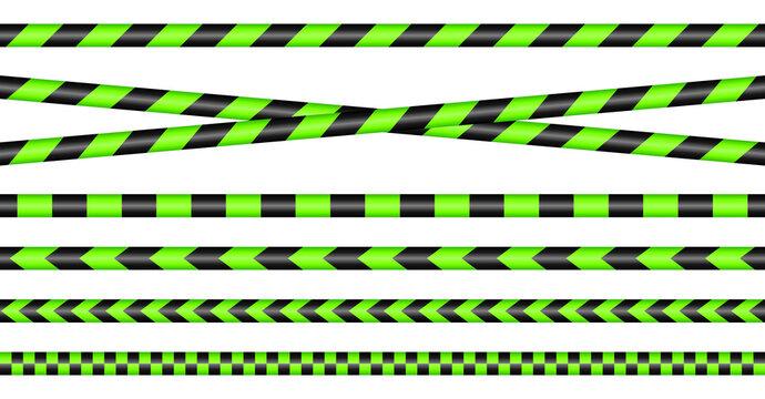 Set Absperrbänder Neongrün Und Schwarz