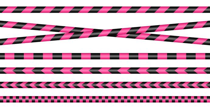 Set Absperrbänder Pink Und Schwarz