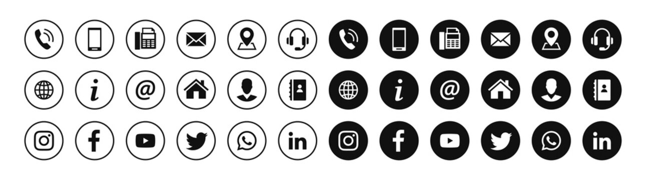 Set of contact and social media icons in circles. Vector symbols.