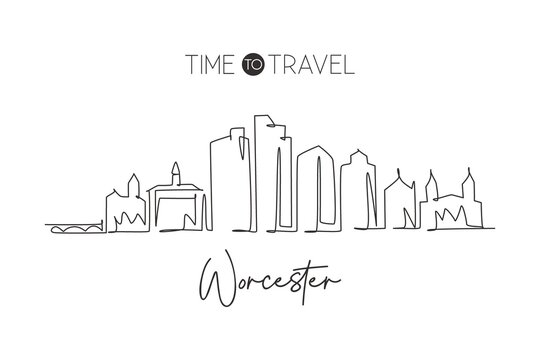 Single continuous line drawing Worcester skyline, Massachusetts. Famous city scraper landscape. World travel home wall decor art poster print concept. Modern one line draw design vector illustration