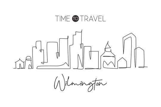 Single continuous line drawing Wilmington city skyline, Delaware. Famous city scraper landscape. World travel home wall decor art poster print concept. Modern one line draw design vector illustration