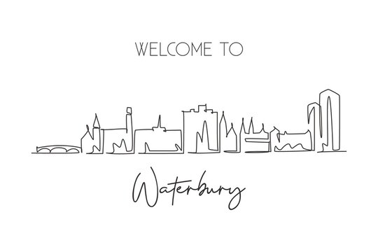 One single line drawing Waterbury city skyline, Connecticut. World historical town landscape. Best holiday destination postcard. Editable stroke trendy continuous line draw design vector illustration