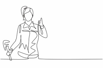 Obraz Continuous one line drawing a plumber woman with a thumbs-up gesture at work fixing leaking drains in sinks and household drains professionally. Single line draw design vector graphic illustration. - fototapety do salonu