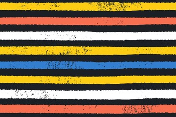 Colorful vector horizontal stripes painted on black. Hand drawn striped texture. Vector illustration.