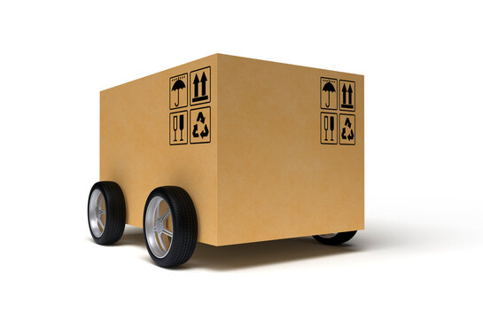 Cardboard box on wheels isolated on white background. 3D rendering.