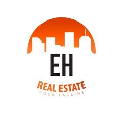 Fototapeta Initial Letter EH Real Estate Creative Logo Design Template. Real estate template logo obraz