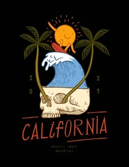Fototapeta Sun character surfing wave in the skull with palm trees growing from its eyes. California surfing vintage typography t-shirt print. obraz