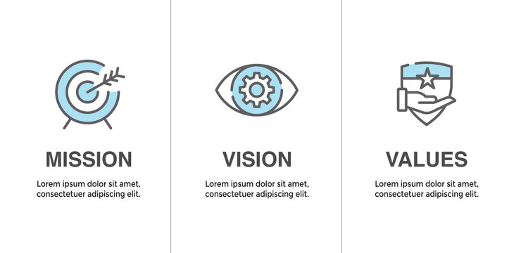 Mission Vision and Values Icon Set with mission statement, vision icon, etc