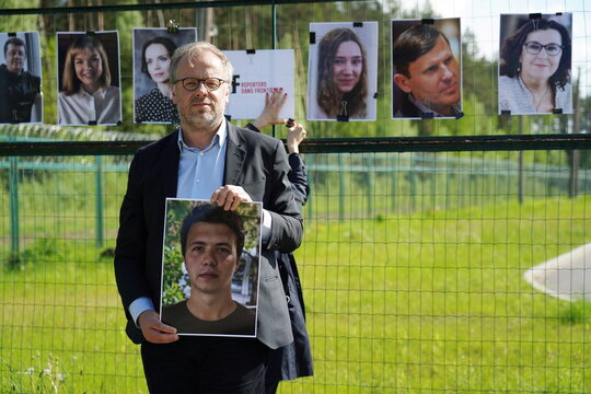Press advocacy group Reporters Sans Frontiers holds protest against Belarus blogger arrest