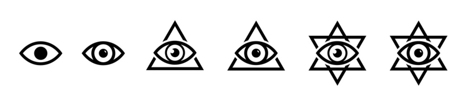 All seeing eye icon, illumination symbols, masonic sign, conspiracy of elites, the Jewish star sign of David