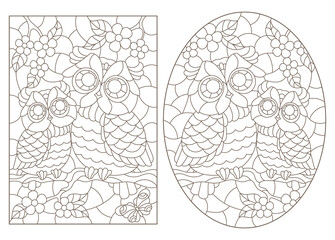 Fototapeta Set of contour illustrations of stained glass Windows with cute cartoon owls on tree branches, dark outlines on a white background obraz