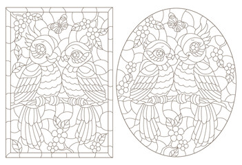 Fototapeta Set of contour illustrations of stained glass Windows with cute cartoon parakeets on tree branches, dark outlines on a white background obraz