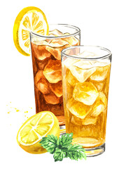 Obraz Glasses of ice tea with lemon and mint. Watercolor hand drawn illustration isolated on white background - fototapety do salonu