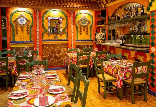 Granada, Spain - October 1, 2019: Spanish restaurant serving national food in Granada