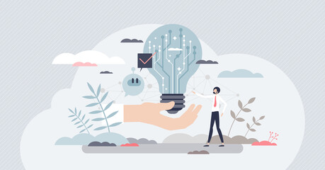 Fototapeta Digital innovation and new technological invention idea tiny person concept. Creative tech startup business development with successful and smart futuristic approach vector illustration. IT scene. obraz