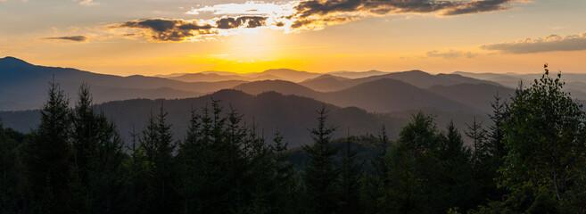 Sunset seen from Dwernik Kamień, multi-plan on the horizon, Bieszczady Mountains