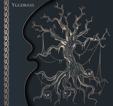 black and gold illustration of Yggdrasil world tree from scandinavian mythology