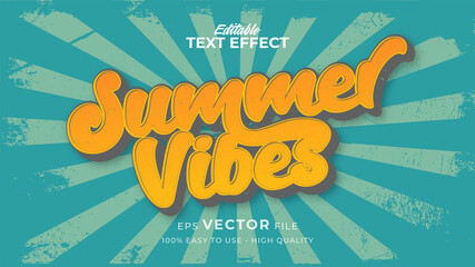 Editable text style effect - retro summer vibes text in grunge style theme