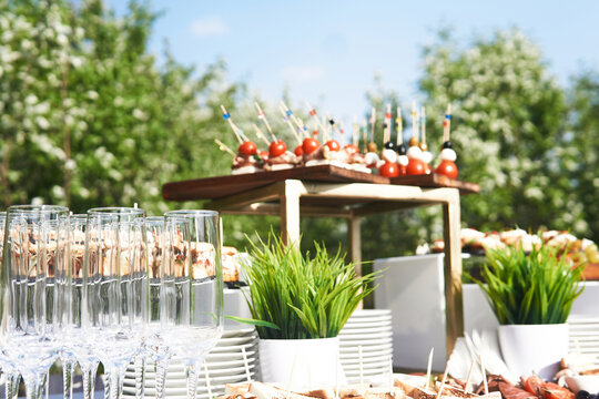 open-air buffet table, glasses and cold snacks before the start of the holiday against the background of flowering trees in the garden