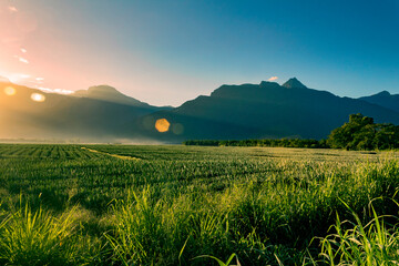 Obraz Montañas en Honduras pico bonito amanecer y agricultura - fototapety do salonu