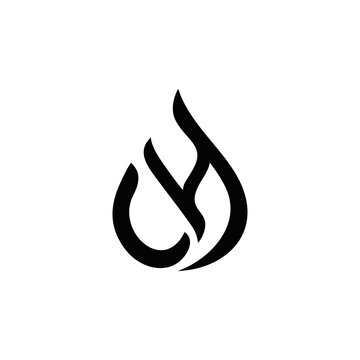 c h ch hc initial oil or gas or water logo design vector template