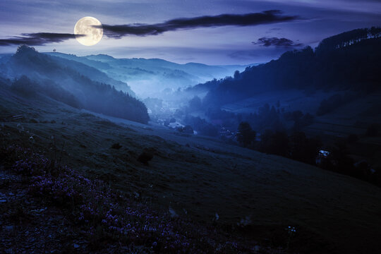 valley on the foggy night. village in the distance. grass and flowers on the hill in full moon light. beautiful countryside scenery. dark clouds on the sky