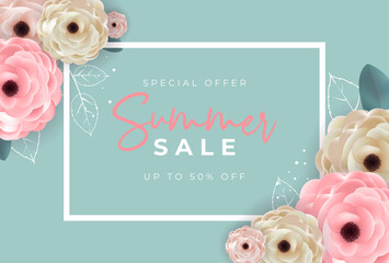 Summer sale poster. Natural Background with Frame and Flowers. Vector Illustration - fototapety na wymiar