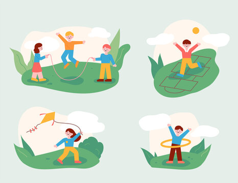 The children are playing with their friends in the park. A play of childhood memories. flat design style minimal vector illustration.