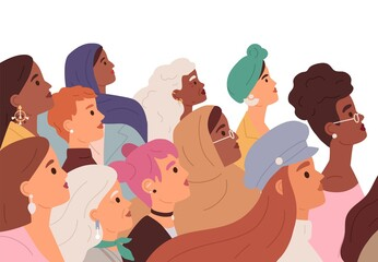 Obraz Women diversity, woman power, sisterhood, and feminism movement concept. Crowd profile of strong diverse multiracial females. Colored flat vector illustration of feminists isolated on white background - fototapety do salonu