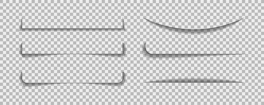 Shadow lines border. Page line divider for design web page or paper sheet on transparent background. Set of realistic bar of shade. vector illustrator