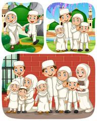 Set of muslim people cartoon character in different scene