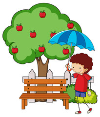Doodle cartoon character a girl holding an umbrella with apple tree