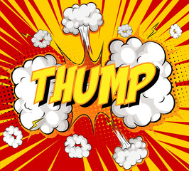 Word Thump on comic cloud explosion background