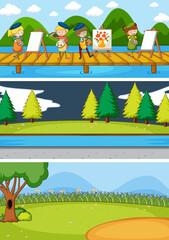 Set of different horizon scenes background with doodle kids cartoon character