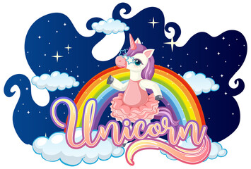 A Fairy Tale font with unicorn cartoon character standing on a cloud