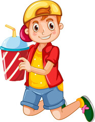Happy boy cartoon character holding a drink plastic cup