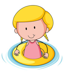 A girl with rubber ring doodle cartoon character isolated
