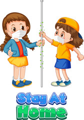 Two kids cartoon character do not keep social distance with Stay at Home font isolated on white background