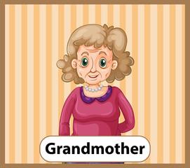 Educational English word card of grandmother